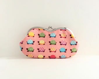 Frame Clutch Purse - Sunglasses Case - Turtle on Pink