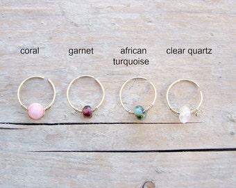 Nose Ring , Helix Earring ,Cartilage Hoop ,Beaded helix hoop ,Gold Helix Piercing ,Septum Ring ,Nose Earring 22ga 8mm inner diameter, SINGLE