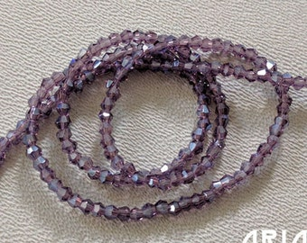 AMETHYST LUSTER: 2mm Faceted Glass Bicone Strand (195 beads per strand)