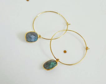24ct Gold plated creole earrings with semi precious labradorite gemstone pendant, 30mm. Beautiful reflections.