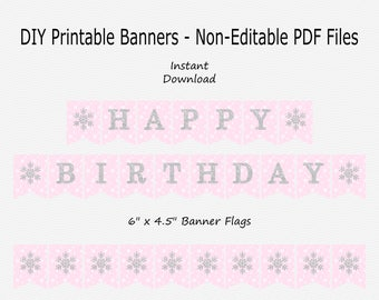 Happy Birthday Banner - Pale Pink, White & Silver Sparkle - Snowflake - Winter - Girl Birthday Party - PRINTABLE - INSTANT DOWNLOAD