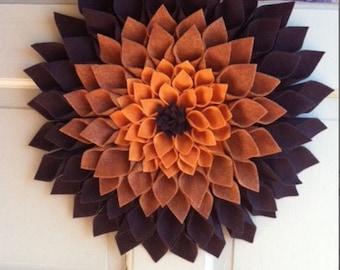 Felt door decor in different shades of brown- approximately 16x16 in diameter