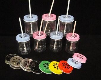 TWELVE Plastic Mason Jars ane lids, Kids Party Cups, Daisy Cut Lids, Weddings, Favors, Farm Party, Zoo Party, New Baby - 12 oz