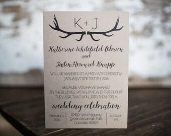 Wedding Invitations, Rustic Wedding Invitation, Antler Invitation, Deer Invitation- Rustic Antler Wedding Suite : A7 Wedding Invitations
