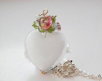 White Murano Semi Precious Necklace