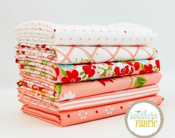 """The Good Life - Coral Pink - Fat Quarter Bundle - 6 - 18""""x21"""" Cuts - Bonnie and Camille - Moda Quilt Fabric"""