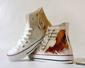 Violin, Sheet Music, Custom Made Shoes