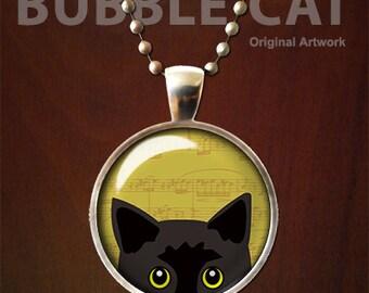 Black Cat Necklace, Peeking Cat Pendant with Chain