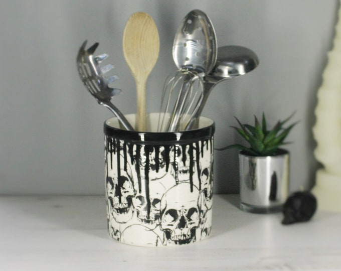 Skull Utensil Holder, Kitchen Pot, Gothic Homeware, Skulls Storage Pot, Hand Painted Ceramic, Black and White, Weird and Wonderful