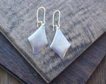 Diamond domed steel silver drop earring charm earrings hypoallergenic ear wire simple minimal boho bohemian hippie gypsy gypset style