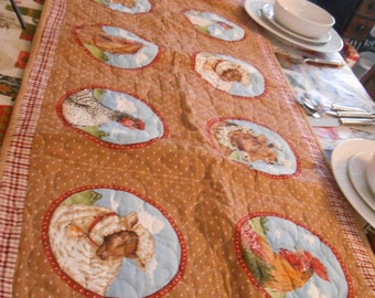 Table Runner, farm animals, machine quilted, table setting ,table accents, table topper, cotton fabric, designer fabric, table runner
