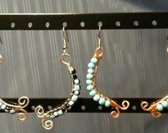 Turquoise Centipede Earrings and Light Blue & Black Centipede Earrings
