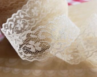 """Cream Lace Trim - Galloon Style Sheer Lace - 1 1/4"""" Wide"""