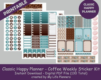 Coffee CLASSIC Happy Planner Printable Stickers, Weekly Kit, Planner Kit, Printable Stickers, CLASSIC Happy Planner, Instant PDF Download