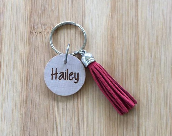 Laser Engraved Wood Disc Personalized PRINT name Tassel Keychain