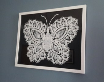 Gorgeous Framed Crocheted Butterfly  White on Black