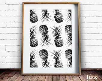 Pineapple Print, Tropical Print, Pineapple Pattern, Black and White, Fruit Print, Pineapple Wall Art, Printable Wall Art, Instant Download