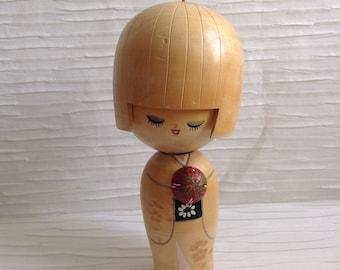 7.25 inch Wood Kokeshi Doll Figure.  Bobblehead.   Japan.  Signed.  Vintage Modernist. Mod, Mid century.