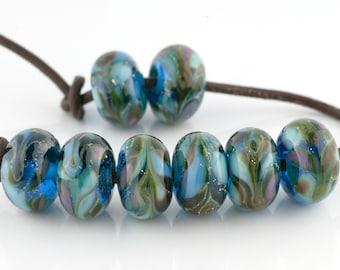 Bermuda Handmade Glass Lampwork Beads (8 Count) by Pink Beach Studios (1918)
