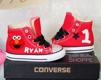 Elmo Birthday Outfit, Elmo 1st Birthday, Bling Converse, Bling Shoes, Elmo Birthday, Elmo Party, Sesame Street Elmo, Sesame Street Party