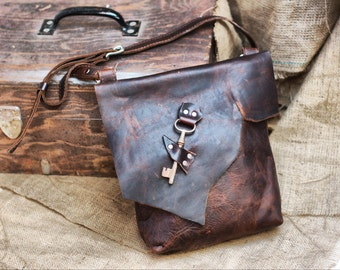 Slouchy Leather Bag - Distressed Raw Edge Purse - Steampunk Pirate Bag - Everyday Leather Messenger Purse