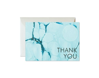 THANK YOU Aqua Agate Marble Notecards + Envelopes Pack   Boxed Set (8)   Abstract   Modern