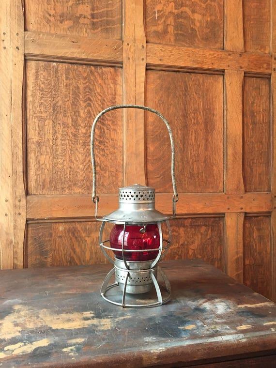 Vintage Dressel Lantern, Arlington New Jersey Red Globe Lantern, Lantern Decor