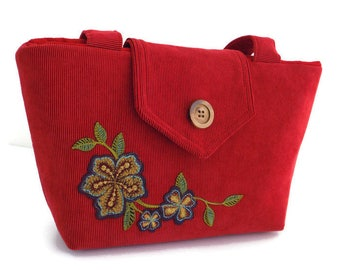 FLORAL APPLIQUE - Cherry Red Corduroy - Wayfarer Purse  - Embroidery - Vegan Shoulder Bag -  Spring