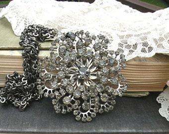 drama assemblage rhinestone necklace dramatic pendant pin big large upcycled jewelry bold statement