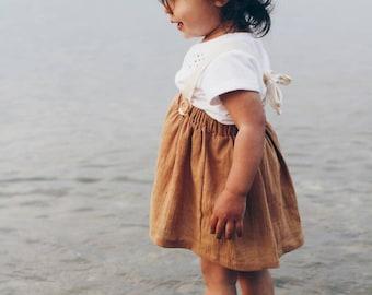 Toddler skirt with suspenders for baby girls, mustard circle skirt,  high waisted , summer skirt, vintage skirt for infant,  girl clothing