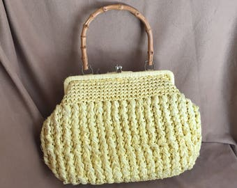 Vintage Yellow Purse, 60's Yellow Handbag, Yellow Woven Raffia Purse, Bamboo Handle, Structured, Top Handle, 50's Rockabilly, Vegan Friendly