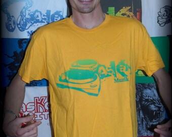 """T-shirt ASKAN UNITED """"Plates"""" - Tee shirt yellow - green ink"""
