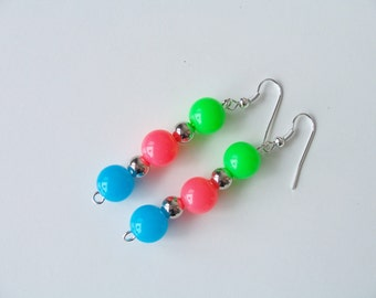 Neon retro 80's tri-colour resin dangling earrings - neon earrings - resin earrings - retro 1980's earrings - neon jewelry