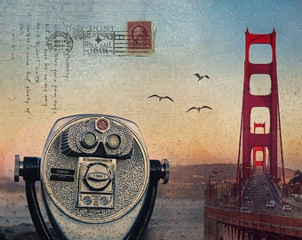 San Francisco Art, Original Golden Gate Bridge Viewfinder Art Collage, San Francisco Print, Urban Photography Collage, SF Photography