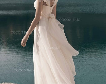 """Bohemian Wedding Dress from Highest quality Silk Organza and crystals crown decor Fairy wedding dress Princess gown - """"Ithaca"""""""