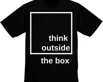 Think Outside The Box Black Square Design Men's T-shirt