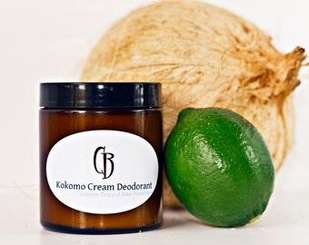 Kokomo Cream Natural Deodorant - Handmade Creamy, Dreamy Tropical Organic- 5.25 oz With Recipe