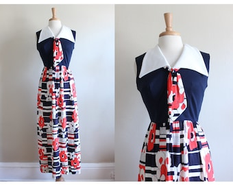 1960s Dress / Vintage Navy and Orange Floral Maxi Dress