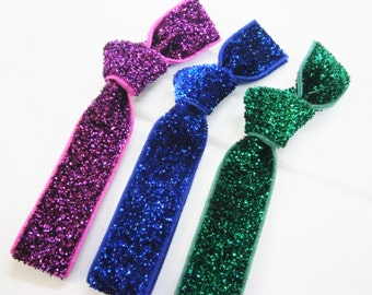 Set of 3 Glitter Hair Tie Package by Crimson Rose Cottage - Purple, Blue and Emerald Glitter Hair Ties that Double as Bracelets