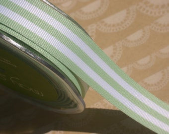 "Mint Green Grosgrain Trim - Horizontal Stripes - May Arts Ribbons - 7/8"" Wide - 15 Yards - DESTASH SALE"