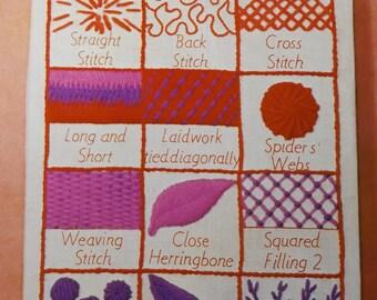 "Erica Wilson Design Stitch Sampler Measures 9 by 21""  Vintage 70s Columbia-Minerva Creative Crewel Kit No. 7211"