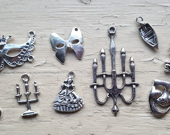 Phantom of the Opera Charm Set 12 Piece Tibetan Style Antique Silver