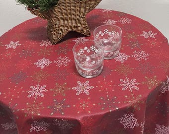 Christmas Tablecloth, Holiday Tablecloth, Coated Red Snowflake Tablecloth