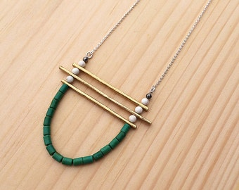 the Kirsten necklace in white and kelly green with brass bars | sterling silver chain | statement necklace | gift for her