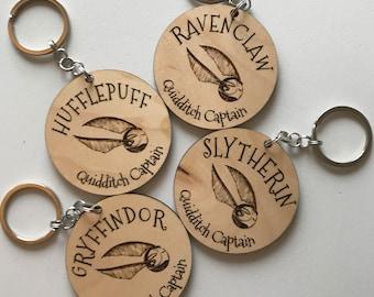Harry Potter Hogwarts Quidditch Captain House Wooden Keychain