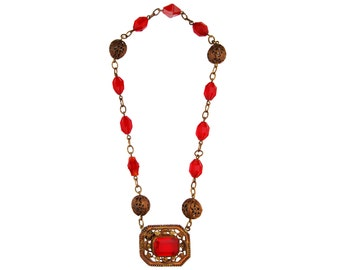 Vintage Red Faceted Beads and Gold Tone Choker Necklace - Unmarked