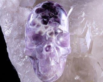 Chevron Amethyst Twin Flame Heart Crystal Skull * L10.30