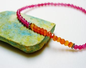 Chacedony & Carnelian Bracelet / Pink Chalcedony / Orange Carnelian / Gemstone Bracelet / Semi Precious Bracelet / Semi Precious Gemstones