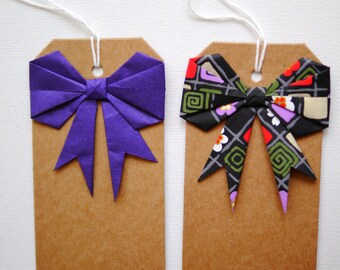 Origami bow gift tags x2 - purple
