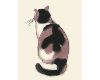 "Cat art tortoiseshell cat   Contemplation - 8.3"" X 11.7"" - 4 for 3 SALE"
